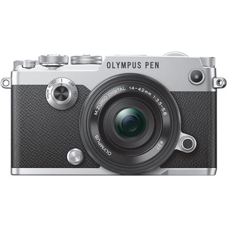 Olympus PEN-F Silver Front with 14-42mm F3.5-5.6