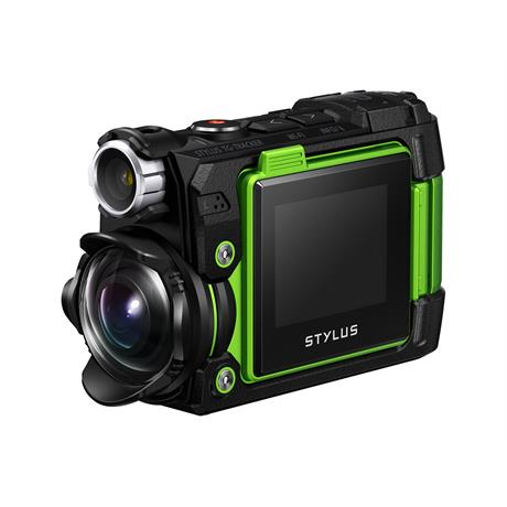 Olympus Tough TG-Tracker Action Camera - Green 3/4 Front View