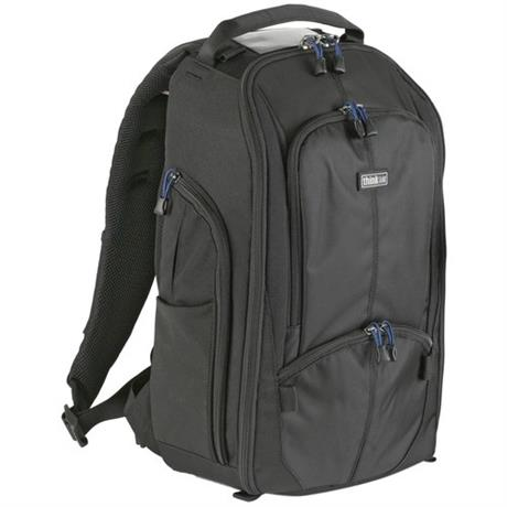 black backpack angled front view