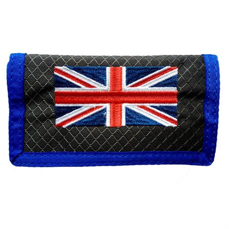 small blue and grey wallet with union jack