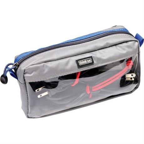 front angled view of blue and grey pouch with optional cables