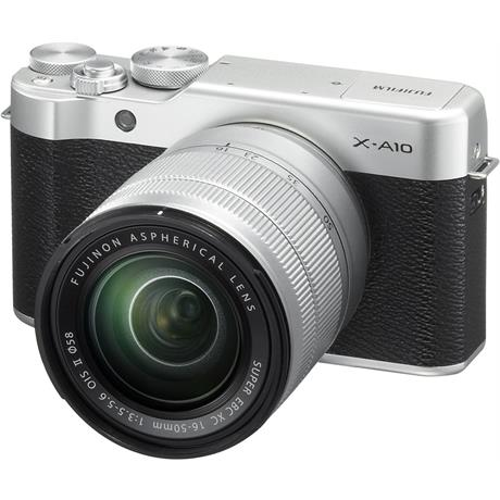 Fujifilm X-A10 with XC 16-50mm f/3.5-5.6 OIS II Front Angle