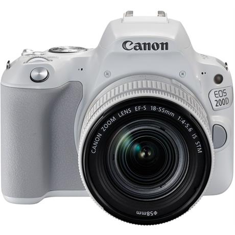 Canon EOS 200D DSLR camera body in white with 18-55mm IS STM white lens