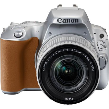 Canon EOS 200D DSLR camera body in silver with 18-55mm IS STM lens