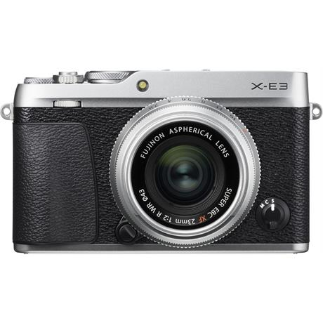 Fujifilm X-E3 in Silver + XF 23mm f/2 R WR Silver Lens Kit Front view