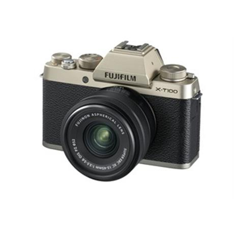 Fujifilm X-T100 mirrorless digital camera + 15-45mm XC lens Champagne Image 1