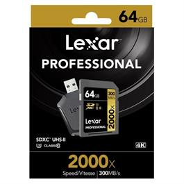 Lexar 64GB UHS2 RDR SDHC 2000x + Reader Thumbnail Image 1