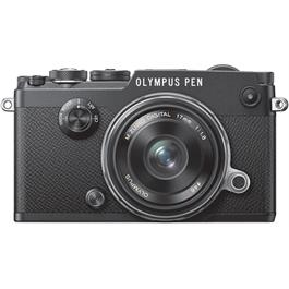 Olympus PEN-F Black Front with 17mm F1.8