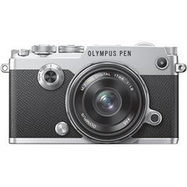 Olympus PEN-F Silver Front with 17mm F1.8
