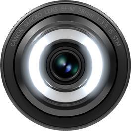 EF-M 28mm f/3.5 Macro IS STM Front Both Lights