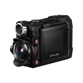 Olymous Tough TG-Tracker Action Camera In Black Front 3/4 View