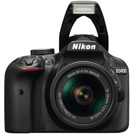 Nikon D3400 Body with 18-55 VR Kit Front with Flash