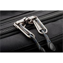 close up of zips on black bag