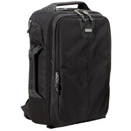 front angled view of black bag with zips