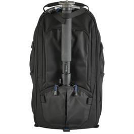 black backpack front view with monopod attached