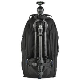 black backpack with tripod attached on the front