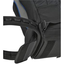 close up view of a feature on black backpack