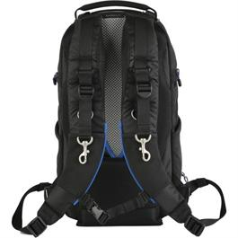 black backpack rear view straps