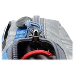 close up view of zip on grey blue pouch