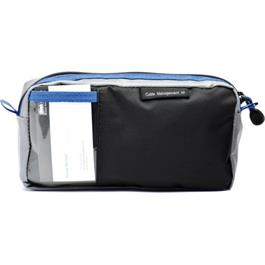 rear view of black grey and blue pouch
