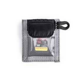 Lightweight, secure, and convenient wallet for your spare memory card and battery.