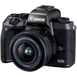 Canon EOS M5 with EF-M 15-45 Kit Front Angle