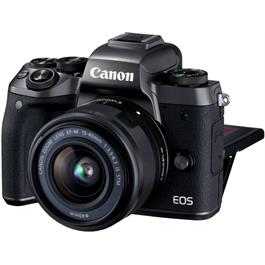 Canon EOS M5 with EF-M 15-45 Kit Front with Rear Screen Flipped