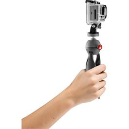Both a tabletop tripod and a handheld grip support for a GoPro, DSLR, point and shoot, or compact camcorder.