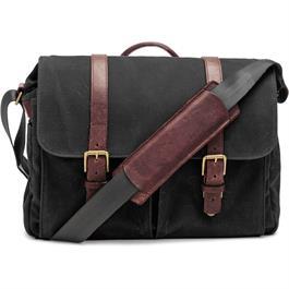 ONA Brixton Black Waxed Canvas Messenger Bag thumbnail