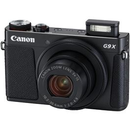 PowerShot G9 X II Black Angle with Flash