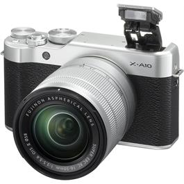 Fujifilm X-A10 with XC 16-50mm f/3.5-5.6 OIS II Front Angle with Flash