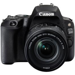 Canon EOS 200D DSLR camera body in black with 18-55mm IS STM lens