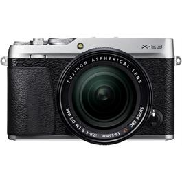 Fujifilm X-E3 in Silver + XF 18-55mm f/2.8-4 R LM OIS Black Lens Kit Front View Angle